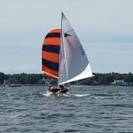 Bullseye sailboat flying the spinnaker