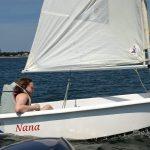 casey sailling in the pram named nana